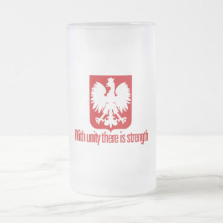 Poland-With unity Strength Frosted Glass Beer Mug