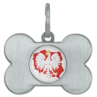 Poland with White Eagle  Dog Bone Tag Pet Tag