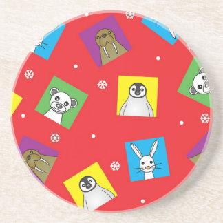 Polar Animal Babies Cute Print - Red Coaster