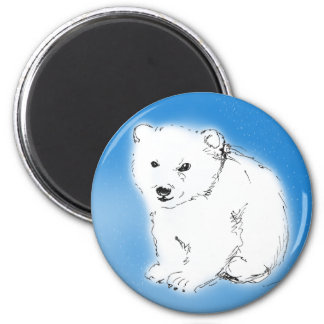 Polar bear 6 cm round magnet