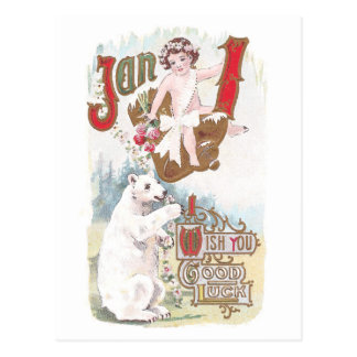 Polar Bear and Baby New Year Vintage Postcard