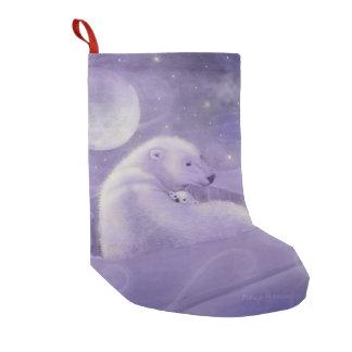 Polar Bear and Cub Fantasy Wildlife Art Small Christmas Stocking