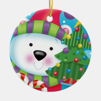 Polar Bear and His Christmas Tree Christmas Ornament