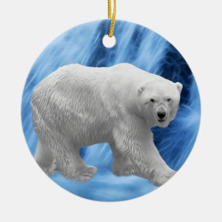 Polar Bear at the frozen waterfall christmas tree Round Ceramic Decoration