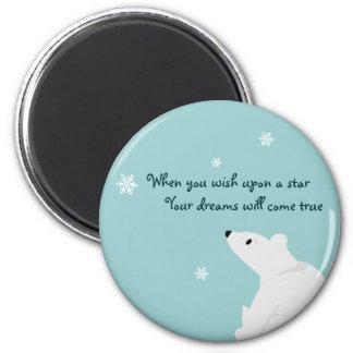 Polar Bear (baby), Snowflake, Snowflake, Snowfl... 6 Cm Round Magnet
