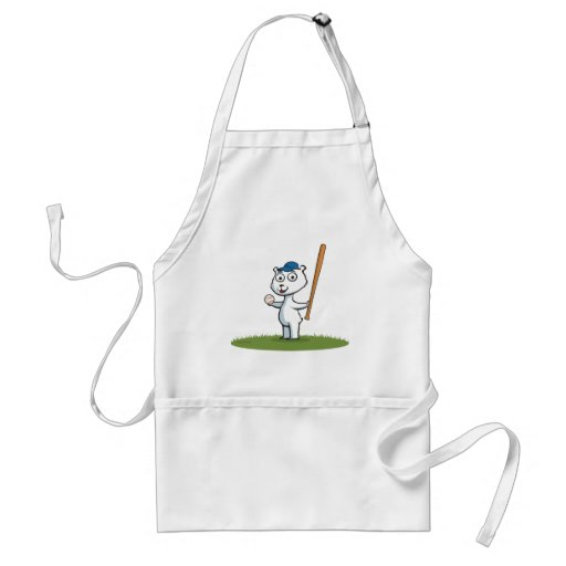 Polar Bear Baseball Apron