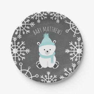 Polar Bear Boy Winter Baby Shower 7 Inch Paper Plate