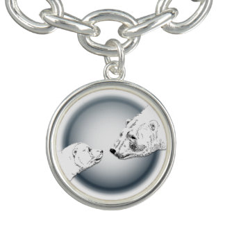 Polar Bear Bracelet Mother & Cub Art Bear Jewelry