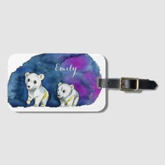Polar Bear Brothers Watercolor Painting Luggage Tag