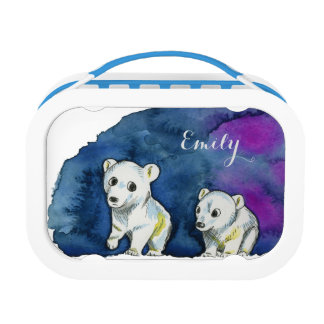 Polar Bear Brothers Watercolor Painting Lunch Box