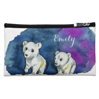 Polar Bear Brothers Watercolor Painting Makeup Bag