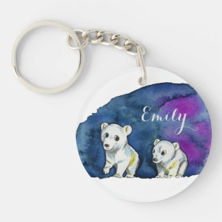 Polar Bear Brothers Watercolor Painting Single-Sided Round Acrylic Key Ring