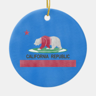 Polar Bear California Republic Global Warming Round Ceramic Decoration