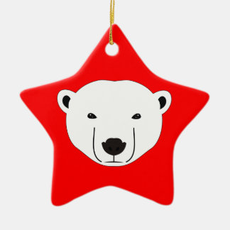 Polar Bear Ceramic Star Decoration