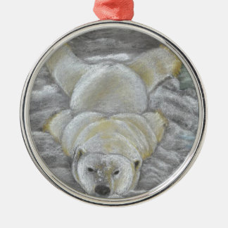 Polar Bear Chalk Drawing Silver-Colored Round Decoration