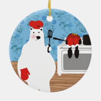 Polar bear chef cooking Santa Christmas ornament