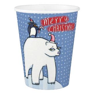 Polar Bear Christmas blue Paper Cup