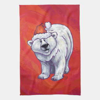 Polar Bear Christmas On Red Tea Towel