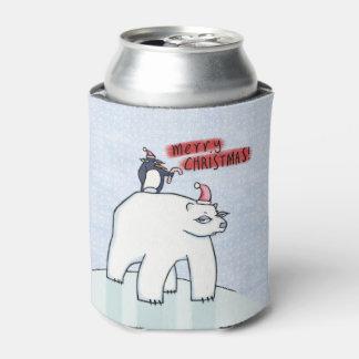 Polar Bear Christmas snow Can Cooler