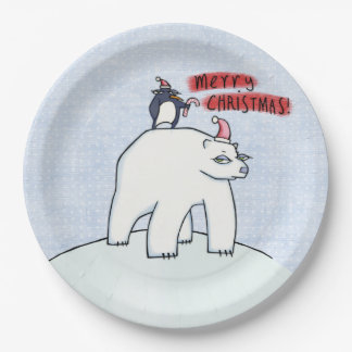Polar Bear Christmas snow Paper Plates