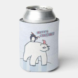 Polar Bear Christmas white Can Cooler