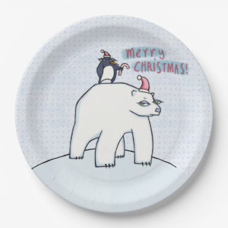 Polar Bear Christmas white Paper Plates