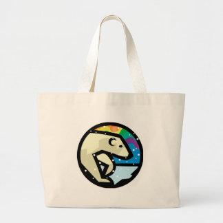 polar bear circle design large tote bag