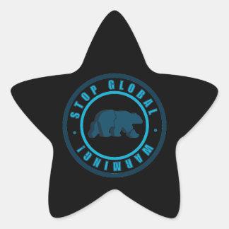 polar bear circle vintage design star sticker