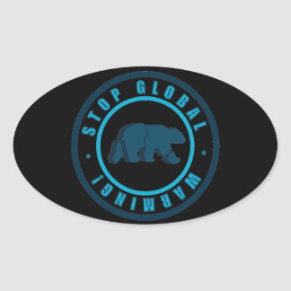 polar bear circle vintage design oval sticker