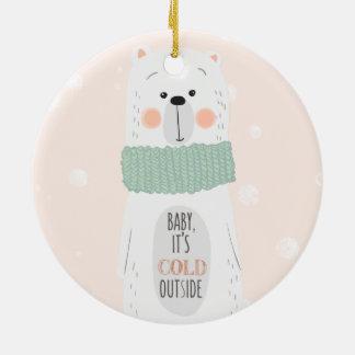 Polar bear   Cold outside Cute Christmas ornament