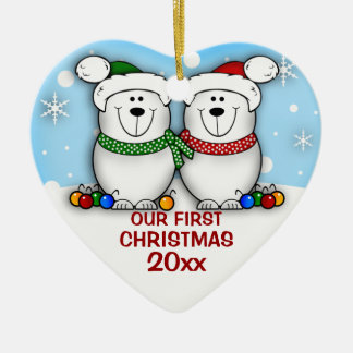 Polar Bear Couple First Christmas Ornament