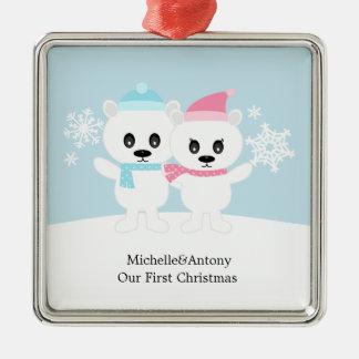 Polar Bear Couple Ornaments