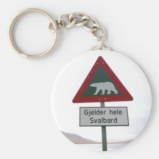 Polar bear crossing sign in Svalbard Key Ring