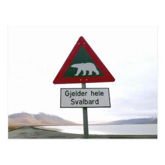 Polar bear crossing traffic sign post cards