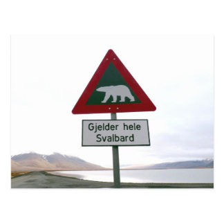 Polar bear crossing traffic sign postcard