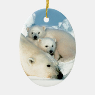 Polar bear cub 1 ceramic oval decoration