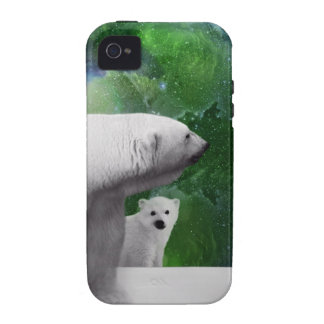 Polar Bear, cub and Northern Lights aurora iPhone 4 Case