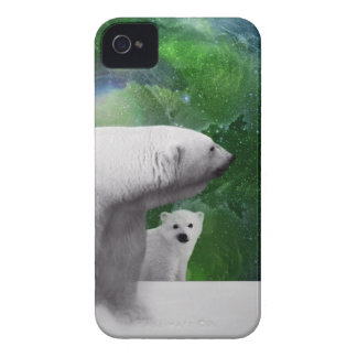 Polar Bear, cub and Northern Lights aurora Case-Mate iPhone 4 Case