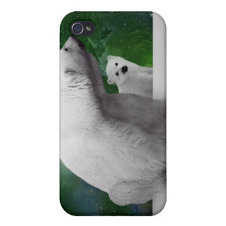 Polar Bear, cub and Northern Lights aurora iPhone 4/4S Covers