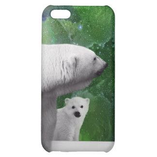 Polar Bear, cub and Northern Lights aurora iPhone 5C Cover