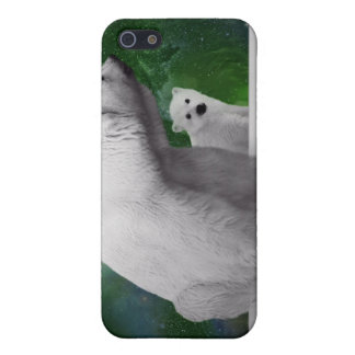 Polar Bear, cub and Northern Lights aurora iPhone 5 Case