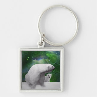 Polar Bear, cub and Northern Lights aurora Key Ring