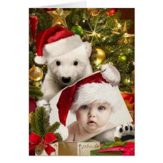 Polar Bear Cub holding YOUR photo for Christmas Card