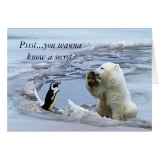 Polar Bear Cub & Penguin Best Friends Card