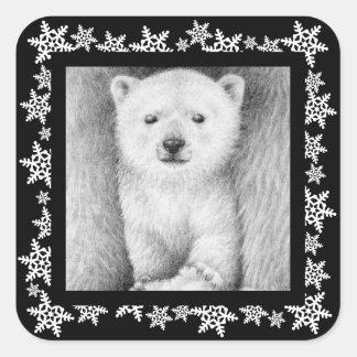 Polar Bear Cub Snowflake Sticker
