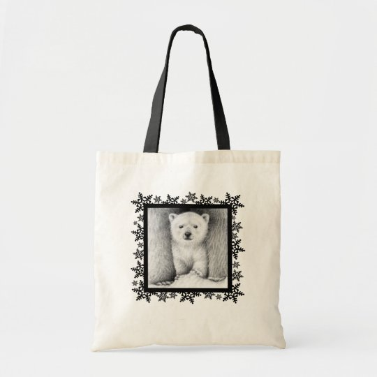 Polar Bear Cub Snowflake Tote Bag