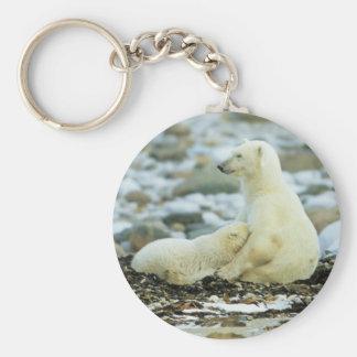 Polar Bear Cub With Mother Key Ring
