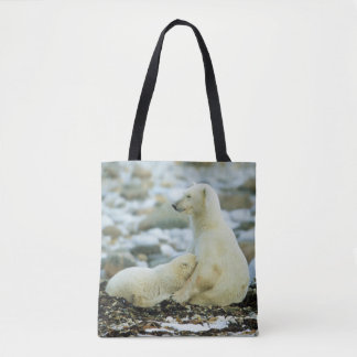 Polar Bear Cub With Mother Tote Bag