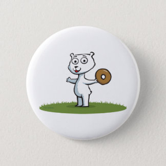Polar Bear Donut 6 Cm Round Badge