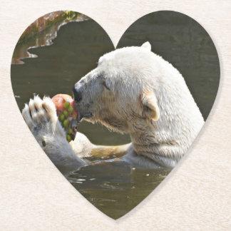 Polar Bear Eating Fruit In Water Paper Coaster